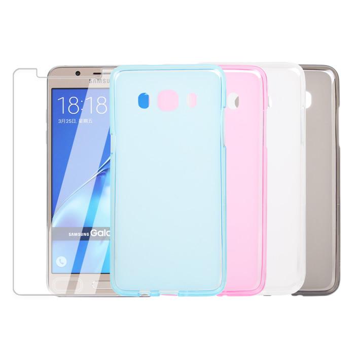 【Myshell】Samsung J5 (2016版) 輕量霧面保護殼+鋼化玻璃保護貼-2合1組霧藍