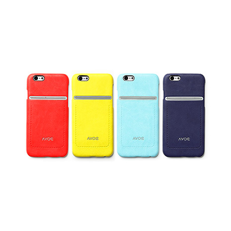 ZENUS AVOC Apple iPhone6 站立車線 皮革保護殼紅色
