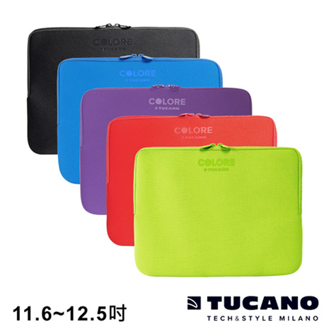 TUCANO Colore 多彩時尚筆電防震內袋 11.6-12.5吋黑