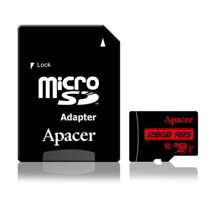 【APP】Apacer宇瞻 128GB MicroSDXC UHS-I Class10 記憶卡 85MB/s (附轉卡)
