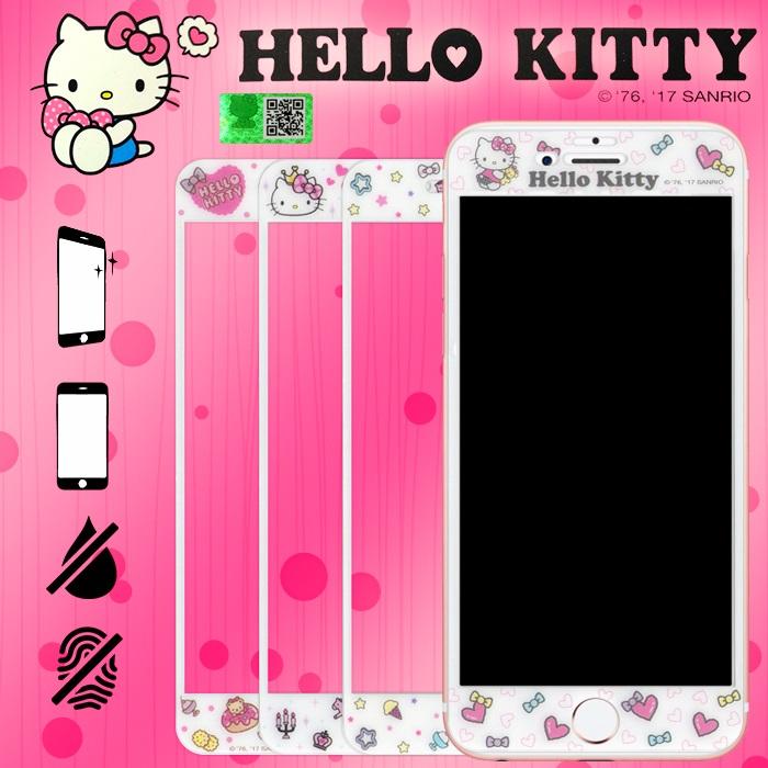 9H滿版 Hello Kitty 5.5吋 iPhone 6/6S/7/8 Plus 彩繪玻璃手機螢幕保護貼5.5吋-冰淇淋