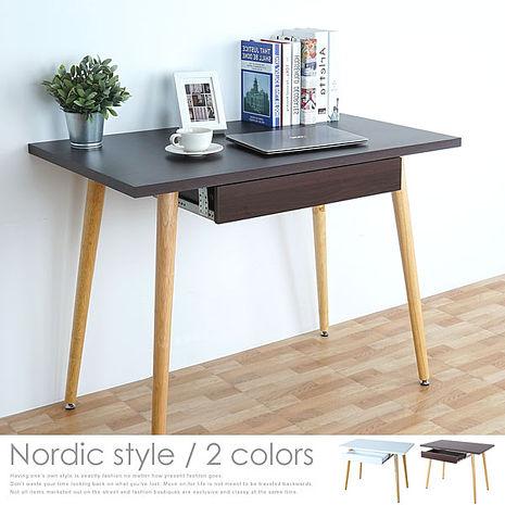 【特賣】Homelike 安迪北歐風附抽書桌(二色任選)胡桃