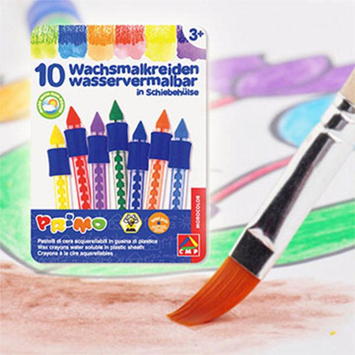 [義大利PRiMO]兒童水溶性塗鴨蠟筆10色鐵盒組