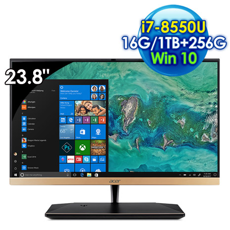 ACER Aspire S24-880 All-In-One 桌上型電腦(i7-8550U/23.8吋非觸控/16G/1T+256G SSD/Win10 )