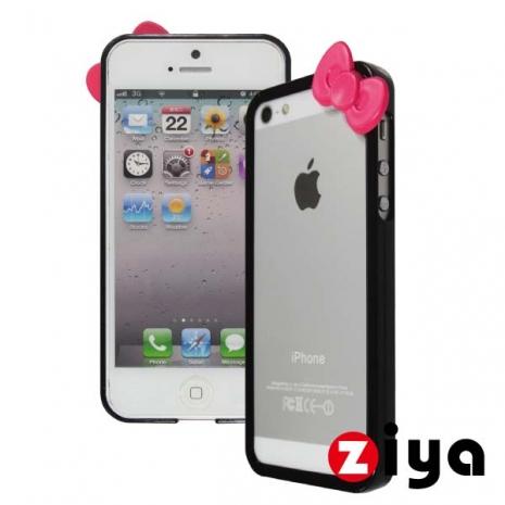 ZIYA iPhone 5/5s 炫彩蝴蝶結雙色邊框 - 沉著黑