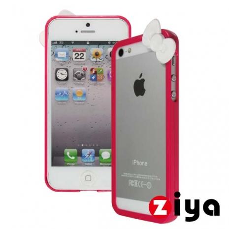 ZIYA iPhone 5/5s 炫彩蝴蝶結雙色邊框 - 桃紅色