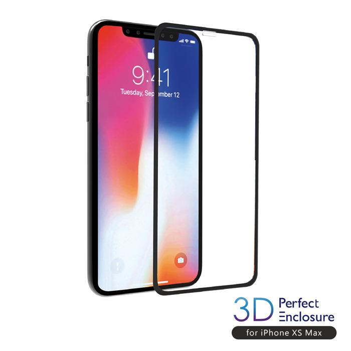 【美日台熱賣搶貨】ABSOLUTE PERFECT ENCLOSURE iPhone XS Max(6.5吋)專用 日本旭哨子3D滿版0.2mm 2次強化耐衝擊玻璃9H高硬度抗沾黏螢幕保護膜
