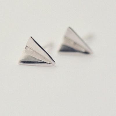 925純銀耳針式耳環-童趣紙飛機流行母親節情人節生日禮物女飾品73ag83【米蘭精品】紙飛機