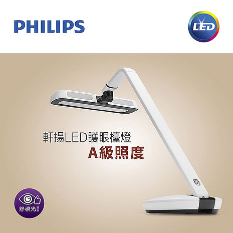 【飛利浦 PHILIPS LIGHTING】軒揚LED檯燈Strider 66111 簡約白