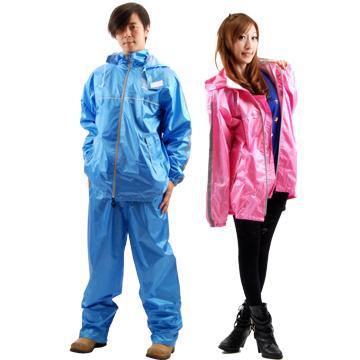 【東伸】高級尼龍 二件式休閒風雨衣藍M