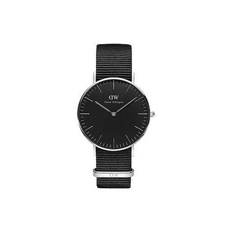 【公司貨】Daniel Wellington Classic DW 瑞典簡約風格 36mm 黑色/尼龍/手錶/銀框 DW00100151