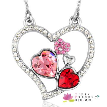 項鍊 施華洛世奇 水晶元素 幸運符系列 許願心 三色可選 短練 微醺。禮物(粉紅)