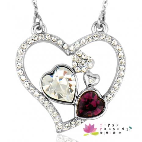 項鍊 施華洛世奇 水晶元素 幸運符系列 許願心 三色可選 短練 微醺。禮物(紫+白)