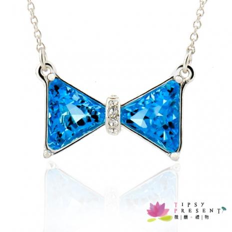 項鍊 施華洛世奇奧登水鑽鍍白金 璀璨藍蝴蝶項鍊 注目新焦點款 微醺。禮物