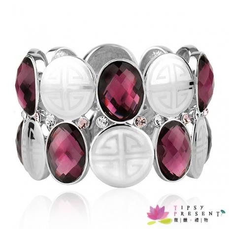手鍊 施華洛世奇 水晶元素 奧登水鑽 橢圓大寶石 奢華時尚款 手鍊 兩色 微醺。禮物名媛金邊白