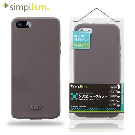 Simplism iPhone5 矽膠保護殼+保護貼-咖啡 Brown