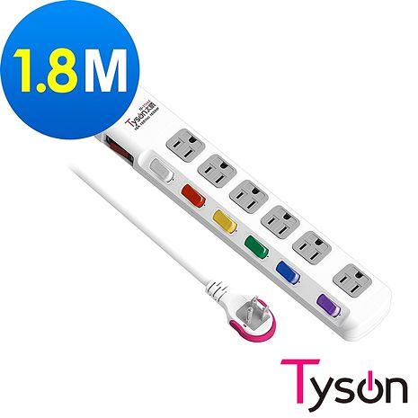 Tyson太順電業 TS-376AS 3孔7切6座延長線(拉環扁插)-1.8米