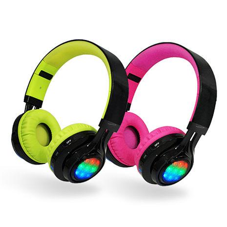 AB-005 全罩式LED炫光無線藍牙耳機麥克風支援TF插卡/AUX音頻輸入黑綠