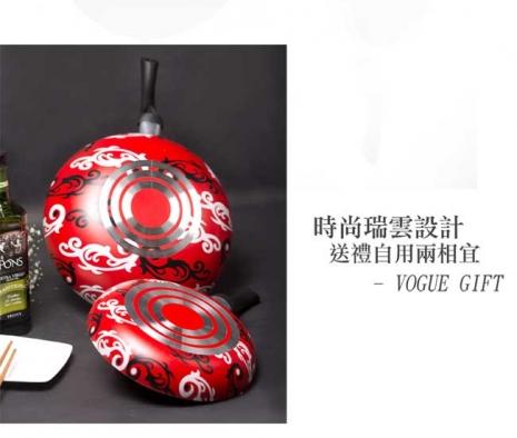 【派樂】開運晶鑽彩繪不沾鍋具組(雙鍋組)30cm不沾炒鍋 +24cm平煎鍋+木鏟(雙11)