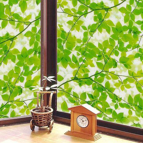 【8折促銷】日本meiwa抗UV靜電窗貼 (綠葉盈窗) - 92x200公分