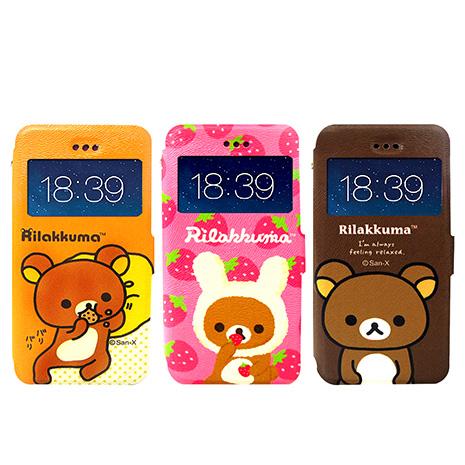 日本授權正版 懶懶熊/拉拉熊/Rilakkuma iPhone 6s/6 4.7吋 i6 彩繪視窗手機皮套(貪吃款)咖啡大頭熊