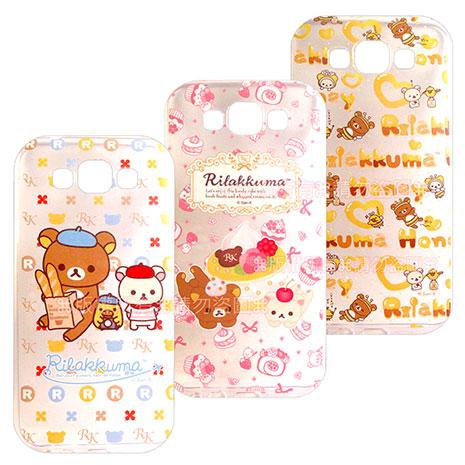 SAN-X授權正版  Samsung Galaxy E7 SM-E7000 Rilakkuma/拉拉熊/懶懶熊 透明軟式保護套 手機殼(友誼款)蜜蜂小熊