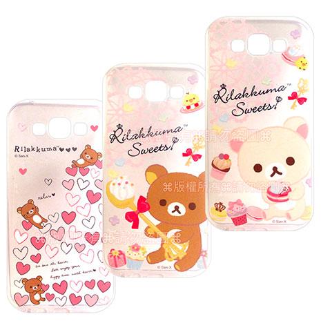 SAN-X授權正版 Samsung Galaxy E7 SM-E7000 Rilakkuma/拉拉熊/懶懶熊 透明軟式保護套 手機殼(甜蜜款)繽紛愛心