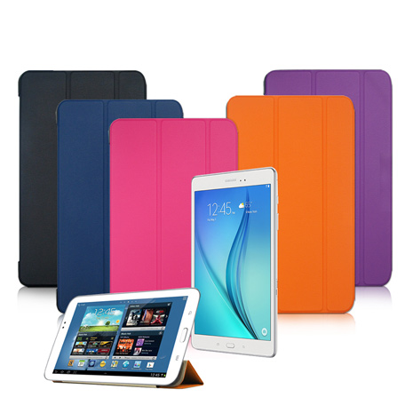 【VXTRA】SAMSUNG Galaxy Tab S2 9.7 T810 T815 經典皮紋超薄三折保護套摩爾藍