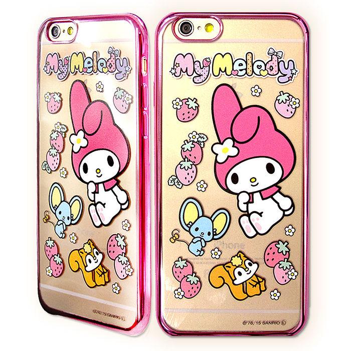 三麗鷗授權正版 My Melody 美樂蒂 iPhone6/6s 4.7吋 超透光電鍍彩繪軟式手機殼(草莓)
