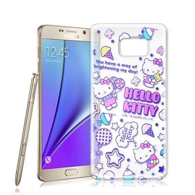 三麗鷗授權正版 Hello Kitty Samsung Galaxy Note 5 樂園系列透明軟式手機殼(繽紛凱蒂)