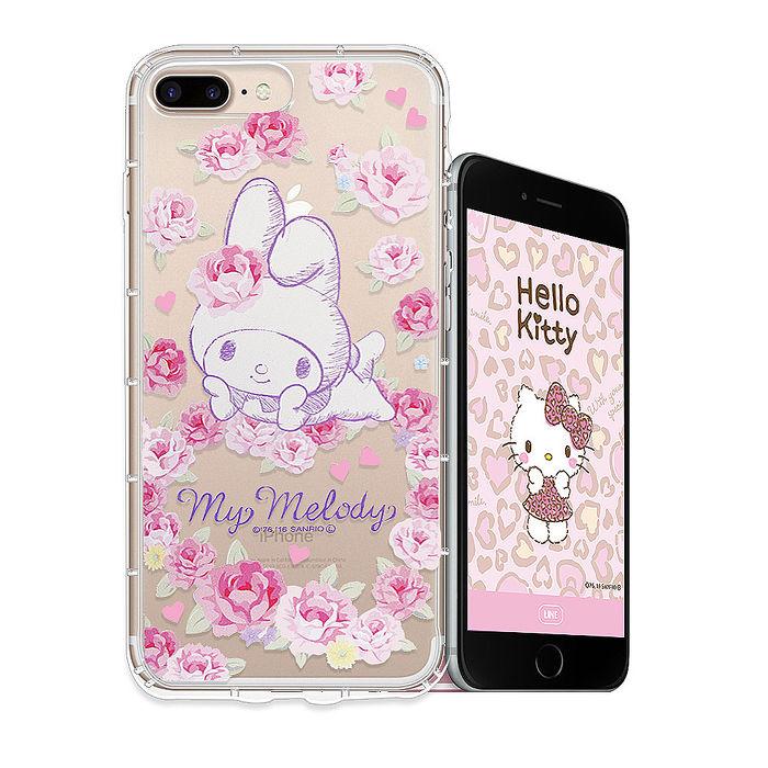 三麗鷗授權 My Melody iPhone 8 Plus/iPhone 7 Plus 空壓氣墊保護殼(玫瑰美樂蒂) 手機殼