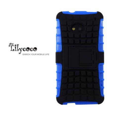 Lilycoco HTC New One M7 sport 運動風全方位保護殼-藍黑