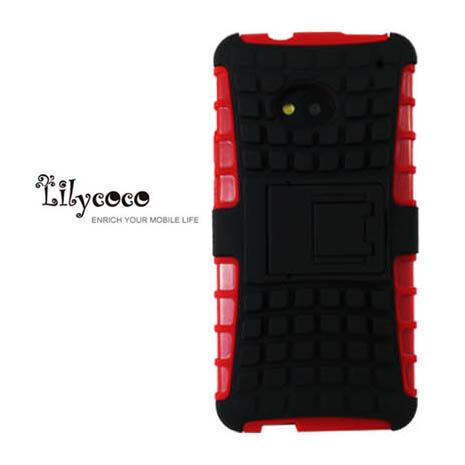 Lilycoco HTC New One M7 sport 運動風全方位保護殼-紅黑