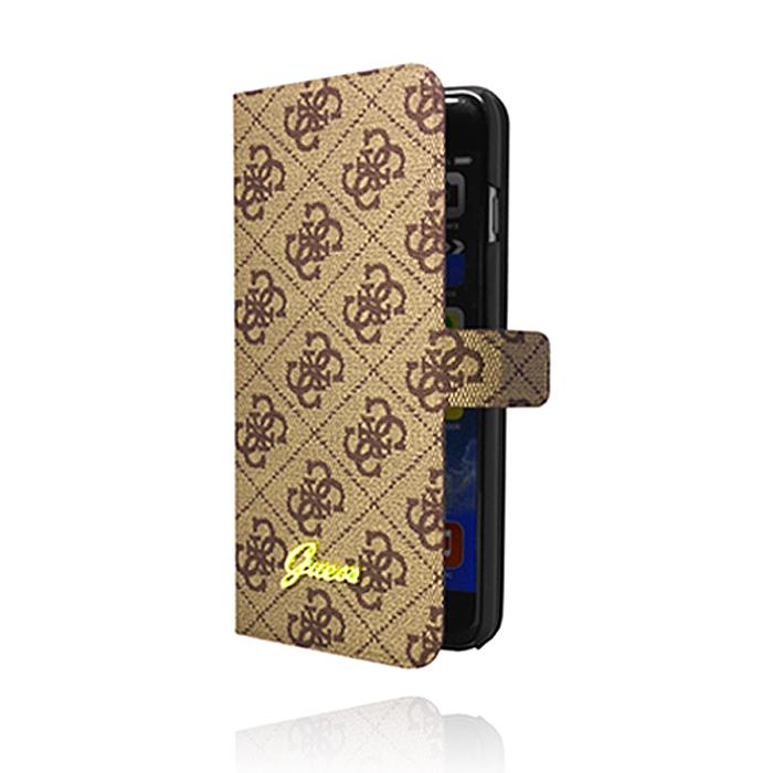GUESS iPhone 6 Plus 5.5吋 經典耀金Logo 格紋側掀皮套