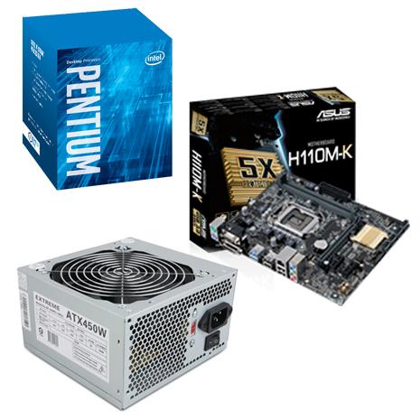 【組合價】G4560/3.5G/3M盒 LGA1151處理器+華碩 H110M-K LGA1151主機板+杰強 Extreme 450W 12cm 電源供應器