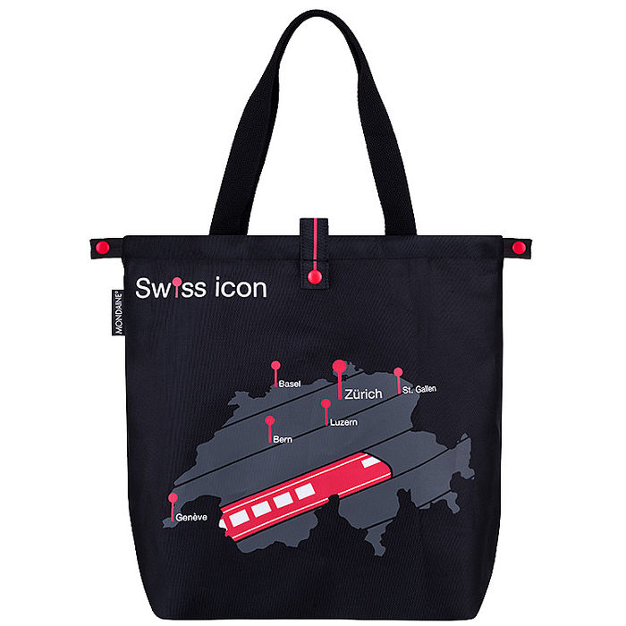 MONDAINE 瑞士國鐵圖騰旅行摺疊肩背包-瑞士地圖火車 【雙11APP】