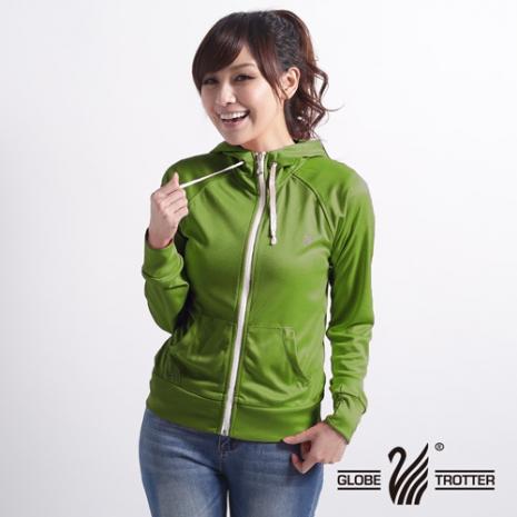 【遊遍天下】MIT台灣製女款抗UV露指吸濕排汗機能連帽外套116草綠XL