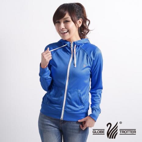 【遊遍天下】MIT台灣製女款抗UV露指吸濕排汗機能連帽外套116寶藍2L
