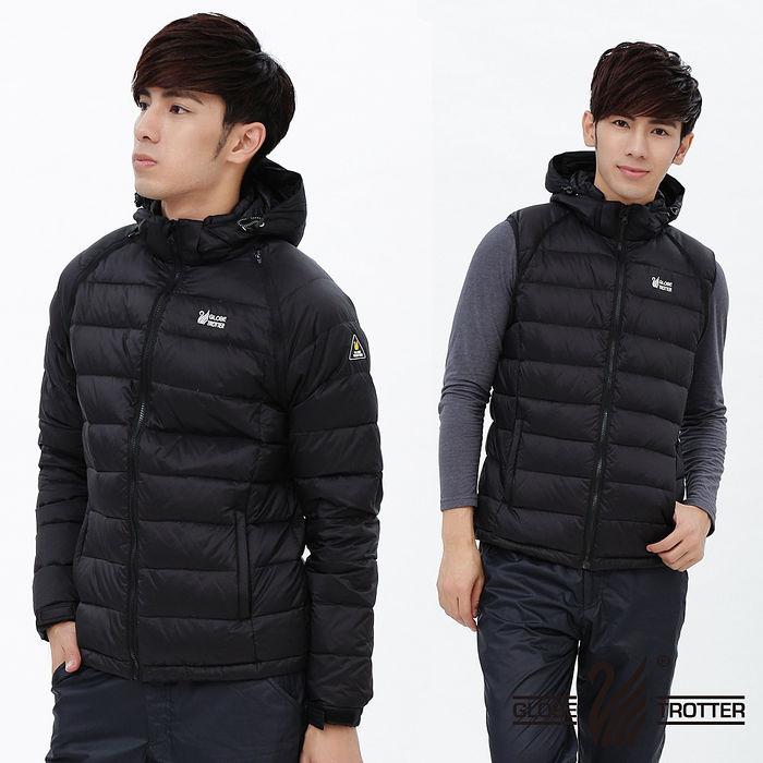 【遊遍天下】背心外套二穿式男款JIS90%羽絨防風防潑水羽絨外套G0327黑色2L