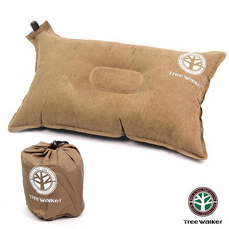 TreeWalker 舒適麂皮自動充氣枕頭- 咖啡色