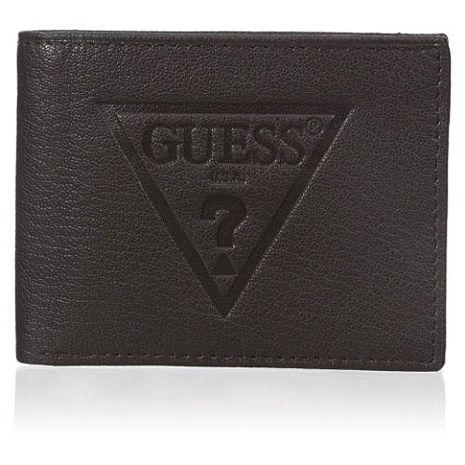 【Guess 】2016男時尚大浮雕三角logo黑色皮夾★預購