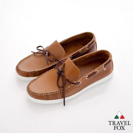 Travel Fox(男) STYLE-風格流行 微尖牛皮經典帆船鞋 - 金棕咖44
