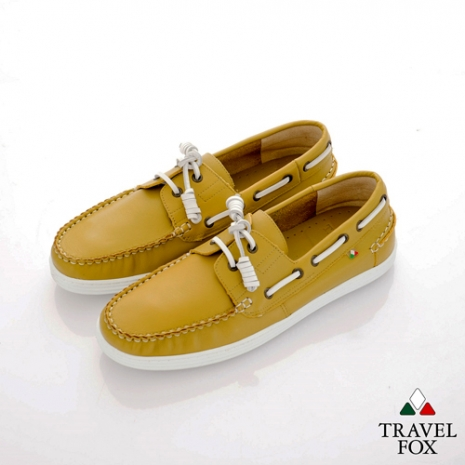 Travel Fox(男) STYLE-風格流行 素面牛皮帆船鞋 - 芥茉39