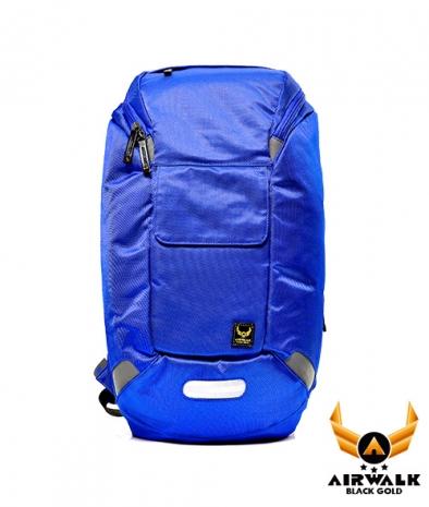 AIRWALK - 黑金冒險王 蛋型直筒多功能筆電後背包(附半圓防雨套) - 大膽藍