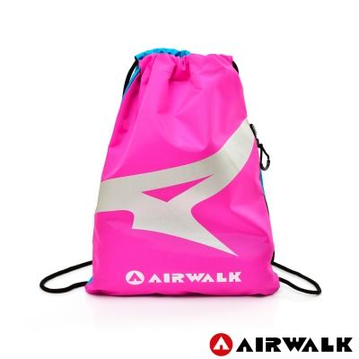 AIRWALK - A字風潮 雙彩雙面 尼龍輕便束口後背包 - 雙藍粉