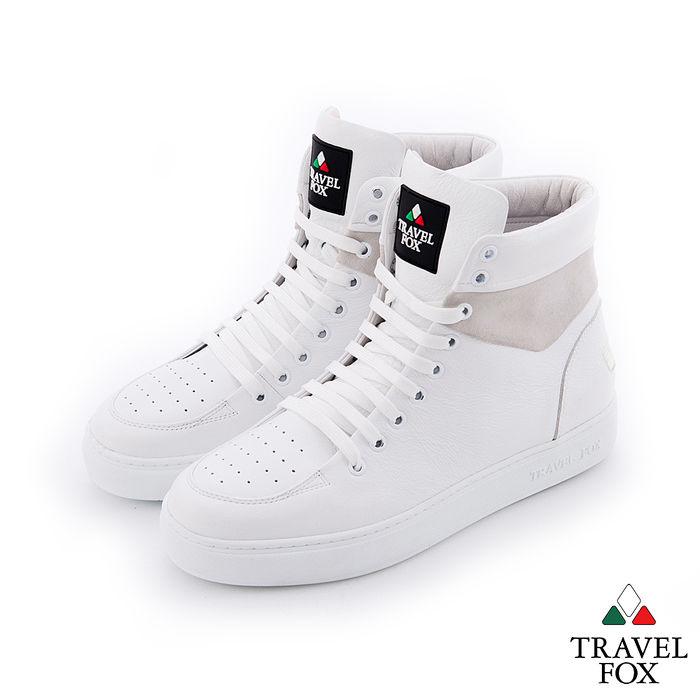 Travel Fox(男) CLASS 900 雙料側環牛皮高筒休閒鞋 - 白39