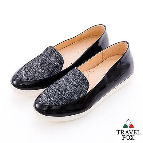 Travel Fox(女) 閃亮的時光 三角楦亮面牛皮直套休閒鞋 - 亮黑