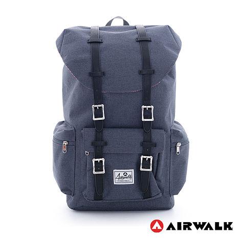 AIRWALK - 摩登學院風 抽繩束口袋 筆電後背包(大) - 深灰