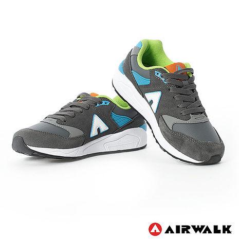 AIRWALK(女) - A字風潮 拼接麂皮復古運動鞋 - 深灰6.5