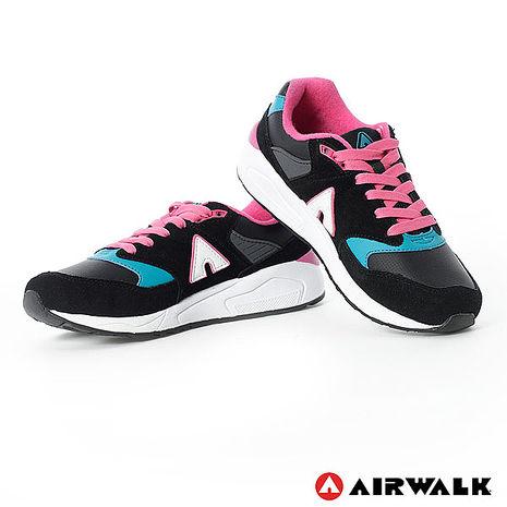 AIRWALK(女) - A字風潮 拼接麂皮復古運動鞋 - 黑6